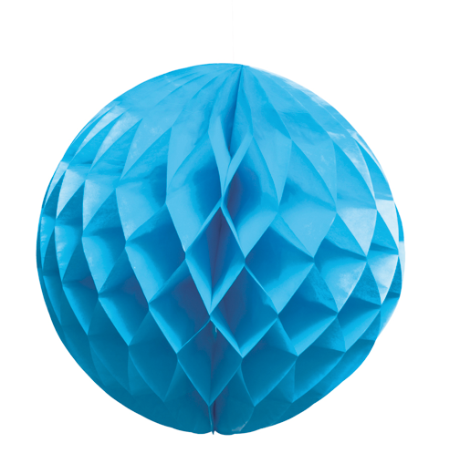 Papieren honingraatbal blauw (25cm)