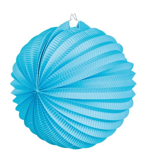Papieren lampion blauw met draadstalen frame (25cm