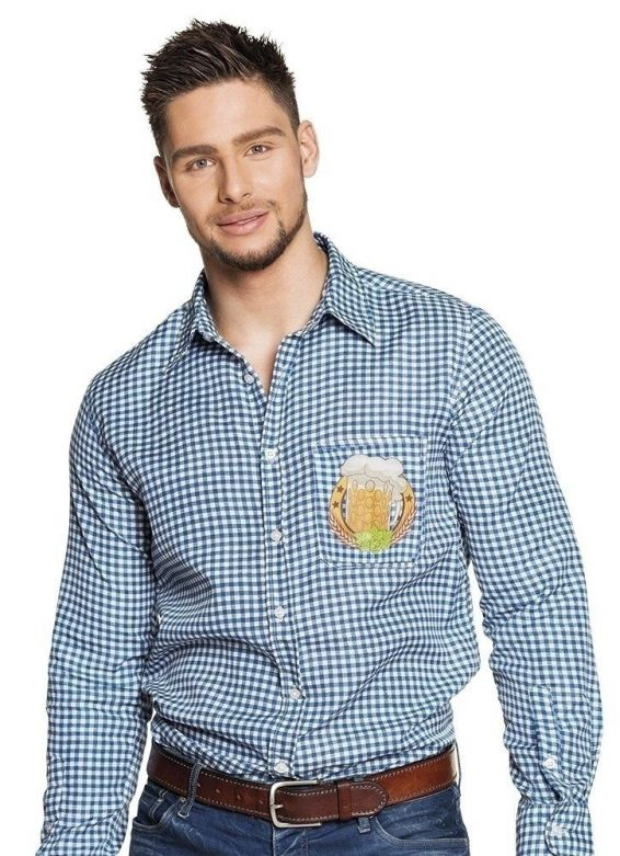 Shirt Oktoberfest blauw/wit