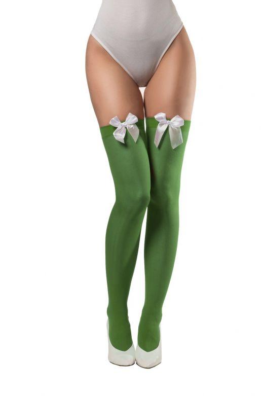 Groene Dirndl kousen met witte strik (Onesize)