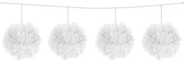 Pompom pendulum White 12cm/ 3mtr (Folat)