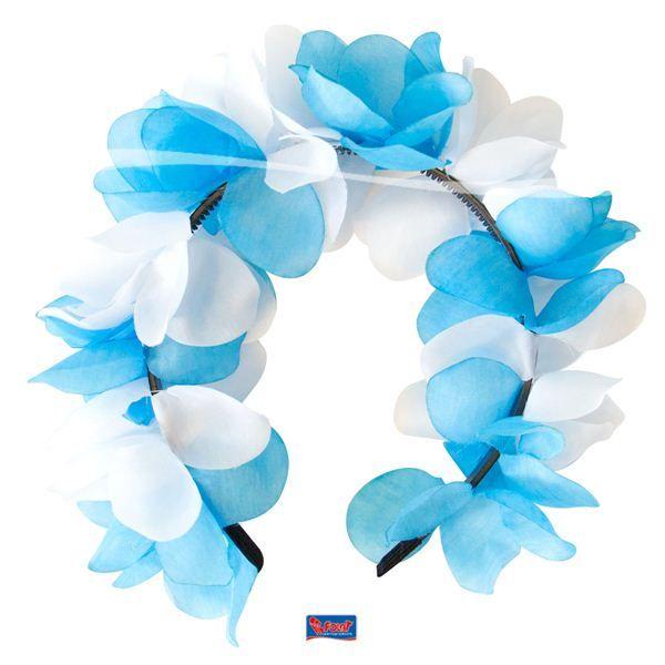 Tiara bloemen blauw/wit