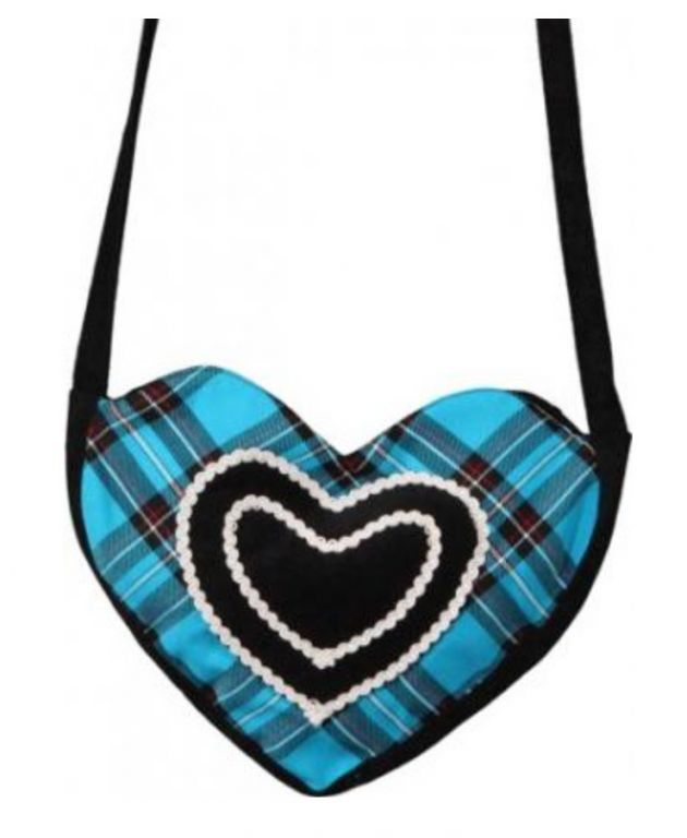 Heart bag turquoise-black