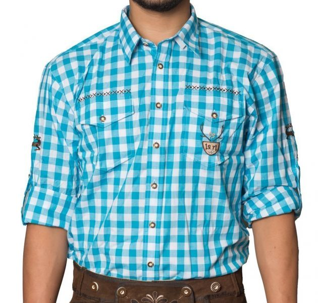 Trachtenhemd Milano Turquoise