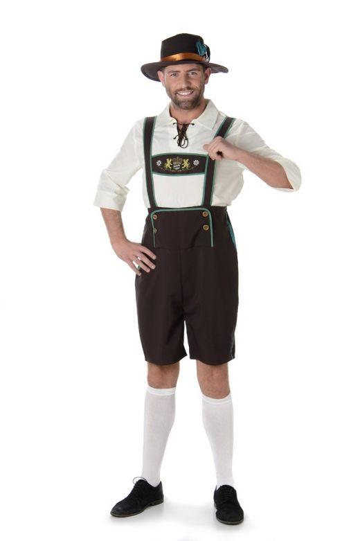 Lederhosen set: Der Manfred - Lederhosen, shirt en hoedje - XL