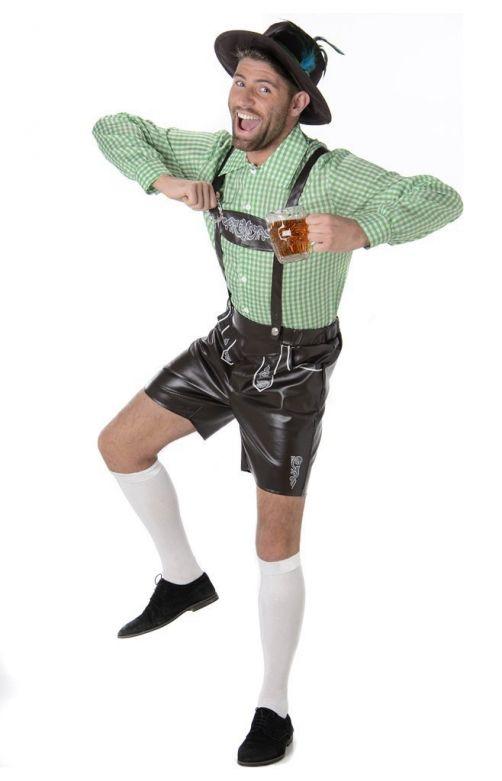 Lederhosen set: Der August - Lederhosen, shirt en hoedje - XL