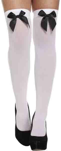 Witte kousen met zwarte strik / One-size