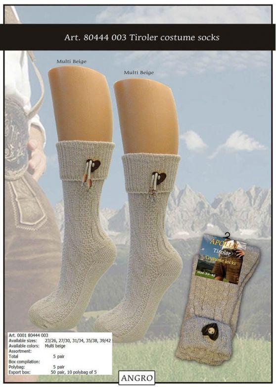 Tiroler Costume Socks With Accessory Multi Beige
